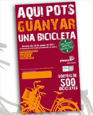 nos hemos encargado del diseño e impresión de la campaña de sorteo de bicicletas de pimeco