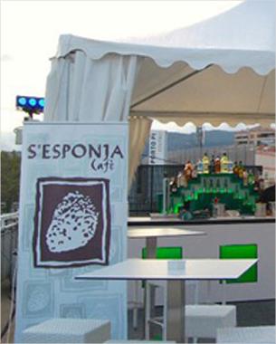 diseño e impresión de rollers para S'esponja encargada de la terraza de la nueva discoteca de Palma Sunset Club