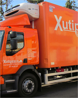 el diseño de la rotulación del nuevo camion para la flota de vehículos de xutipesca