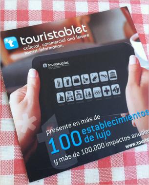 diseño y maquetación de la nueva empresa touristablet. Empresa que se dedica a crear una guia turistica a traves de tablets