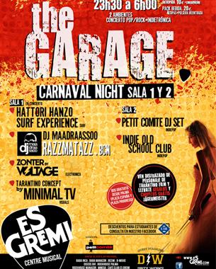 """creación de la nueva marca the garage (organizadora de fiestas) asi como el diseño de su primer cartel """"carnaval tarantino night""""."""