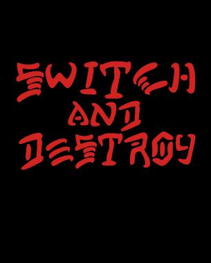 """Nuevo diseño de camiseta para Switch People haciendo un guiño al famoso slogan utilizado por el magazine trahser """"skate and destroy"""""""