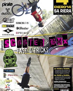 diseño del cartel para la competición de bmx & scooter del proximo día 4 de enero