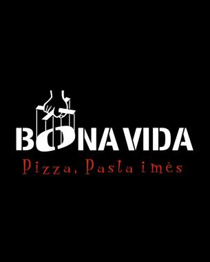 diseñado y hecho por nosotros... nos hemos encargado de diseñar y realizar la imagen gráfica y aplicaciones de la pizzeria bona vida: cartas, camisetas, rotulación del local, rotulación motos...