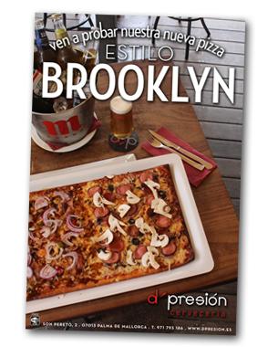 diseño, impresión y fotografía de los carteles para la promoción de las nuevas pizzas del d'presion