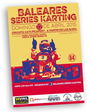 """Imagen para el campeonato """"Baleares series karting"""". Ademas del cartel tambien diseñamos y serigrafiamos las camisetas del campeonato"""